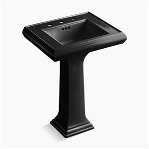 KOHLER Memoirs 34.38-in x 24-in Black Fire Clay Pedestal Sink