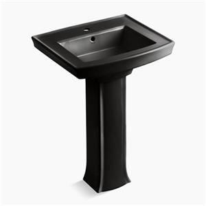KOHLER Archer 35.25-in x 23.94-in Black Rectangular Pedestal Sink with Faucet Hole