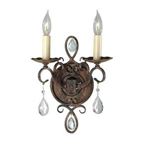 Feiss Chateau Collection Mocha Bronze Opal Etched 2-Light Wall Sconce