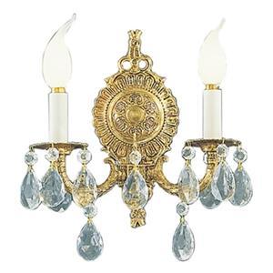 Classic Lighting Barcelona Collection Olde World Bronze Crystalique Golden Teak 2-Light Wall Sconce
