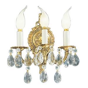Classic Lighting Barcelona Collection Olde World Bronze Crystalique Golden Teak 3-Light Wall Sconce
