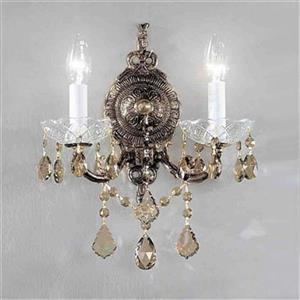 Classic Lighting Madrid Imperial Collection Roman Bronze Strass Golden Teak 2-Light Wall Sconce