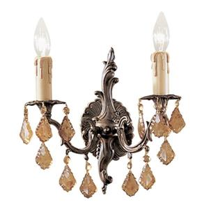 Classic Lighting Parisian Collection Aged Bronze Italian Rock Clear 2-Light Wall Sconce