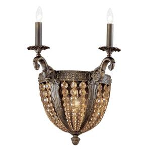 Classic Lighting Merlot Collection Aged Bronze Antique Italian Crystal 3-Light Wall Sconce