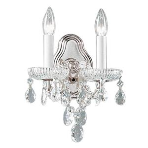 Classic Lighting Maria Theresa Collection Chrome Swarovski Spectra 2-Light Wall Sconce