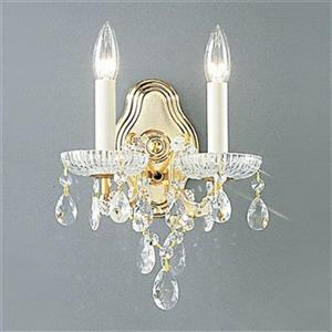 Classic Lighting Maria Theresa Collection Olde World Gold Crystalique 2-Light Wall Sconce