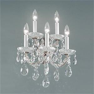 Classic Lighting Maria Theresa Collection Chrome Crystalique 5-Light Wall Sconce