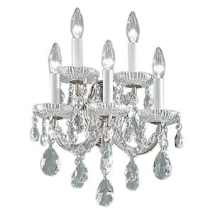 Classic Lighting Maria Theresa Collection Chrome Swarovski Spectra 5-Light Wall Sconce