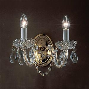Classic Lighting Monticello Collection 24k Gold Plate Swarovski Strass 2-Light Wall Sconce