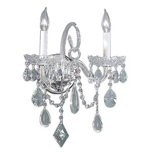 Classic Lighting Prague Collection Chrome Crystalique 2-Light Wall Sconce