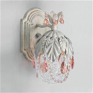 Classic Lighting Petite Fleur Collection Antique White Prisms Rose Wall Sconce