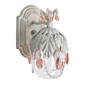 Classic Lighting Petite Fleur Collection English Bronze Prisms Rose Wall Sconce