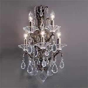 Classic Lighting 5 Light Garden Versailles Antique Bronze with Drops Amethyst Wall Sconce