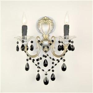 Classic Lighting  2 Light Via Veneto Ebony Pearl Stass Golden Wall Sconce