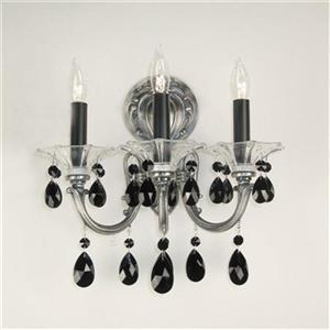 Classic Lighting Veneto Millennium Silver Crystalique Black 3-Light Wall Sconce