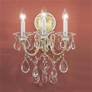 Classic Lighting Veneto Silverstone Strass Golden 3-Light Wall Sconce