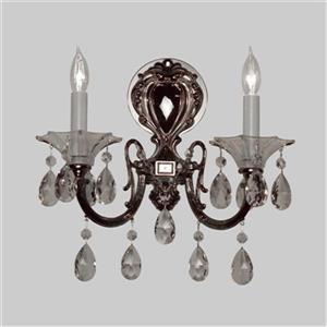 Classic Lighting Via Lombardi Ebony Pearl Crystalique Golden 2-Light Wall Sconce