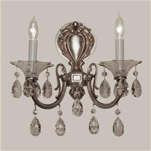 Classic Lighting Via Lombardi Millennium Silver Crystalique-Plus 2-Light Wall Sconce