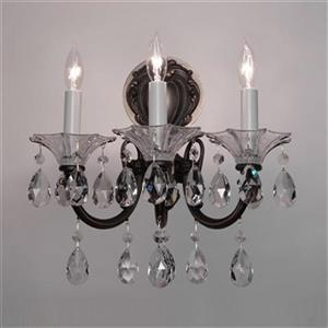 Classic Lighting Via Lombardi Ebony Pearl Crystalique Golden 3-Light Wall Sconce