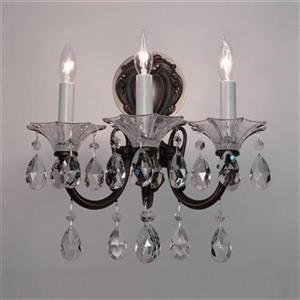 Classic Lighting Via Lombardi Roman Bronze Crystalique Black 3-Light Wall Sconce