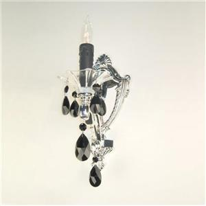 Classic Lighting Via Firenze Silver Plate Crystalique Black Wall Sconce