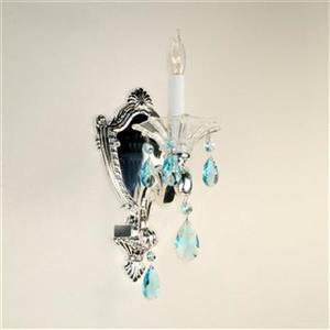 Classic Lighting Via Firenze Silver Plate Crystalique Sapphire Wall Sconce