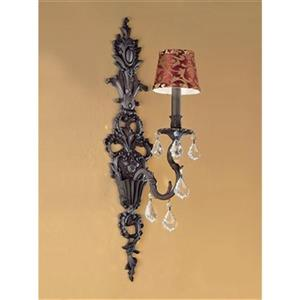 Classic Lighting Majestic Aged Bronze Crystalique Black Wall Sconce