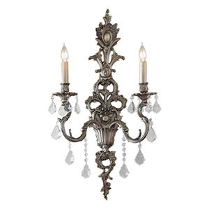 Classic Lighting Majestic 29-in x 16-in Aged Pewter with Crystalique Golden Teak Crystals 2-Light Wall Sconce