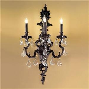 Classic Lighting Majestic 29-in x 16-in Aged Pewter with Crystalique-Plus Crystals 3-Light Wall Sconce