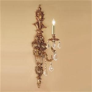 Classic Lighting Majestic Imperial 29-in x 7-in French Gold with Crystalique Black 1-Light Wall Sconce