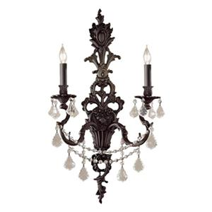 Classic Lighting Majestic Imperial 29-in x 16-in French Gold with Crystalique Black 2-Light Wall Sconce
