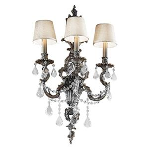 Classic Lighting Majestic Imperial 29-in x 16-in Aged Pewter with Crystalique Black Crystals 3-Light Wall Sconce