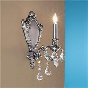 Classic Lighting Chateau Imperial Aged Pewter Crystalique Black Wall Sconce