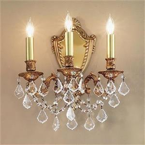 Classic Lighting Chateau Imperial Aged Pewter Crystalique Black 3-Light Wall Sconce