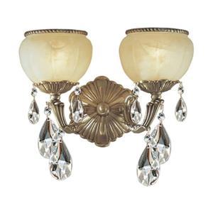 Classic Lighting Alexandria Satin Bronze Swarovski Spectra Crystal 2-Light Wall Sconce