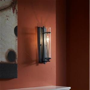 Feiss Ethan 17-in x 5-in Antique Forged Iron / Brushed Steel Wall Sconce