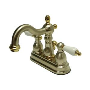 Elements of Design New Orleans 6.31-in  Satin Nickel/Polished Brass Centerset Faucet