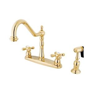 Elements of Design New Orleans Polished Brass Kitchen Faucet With Sprayer
