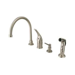 Elements of Design Single Handle Satin Nickel Kitchen Faucet with Soap Dispenser