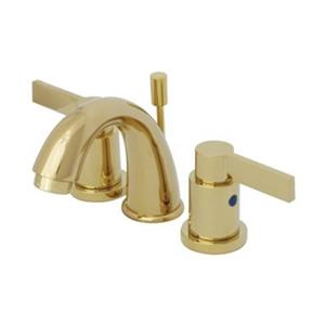 Elements of Design NuvoFusion 4-in Polished Brass Goose Neck Spout Mini Widespread Faucet