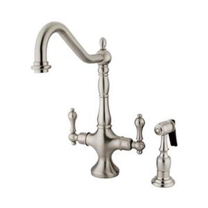 Elements of Design Heritage Spread Nickel Two Handle Kitchen Faucet With Side Spray