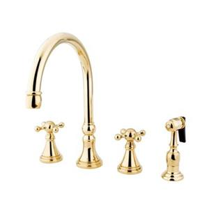 Elements of Design Polished Brass Two Handle Kitchen Faucet with Sprayer