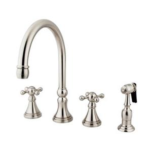 Elements of Design Two Handle Kitchen Faucet with Brass Spra