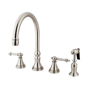 Elements of Design Tuscany Satin Nickel Two Handle Kitchen Faucet With Sprayer