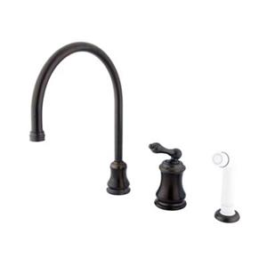Elements of Design Chicago il-Rubbed Bronze Widespread Lever Kitchen Faucet with Sprayer
