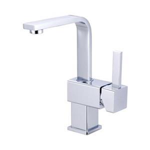 Elements of Design Chrome Claremont Square Single Handle Centerset Faucet