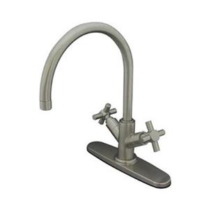 Elements of  Design Concord 13.25-in Satin Nickel Twin Cross Handles Kitchen Faucet