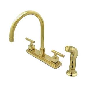 Elements of  Design Claremont 12.5-in Polished Brass Two Handle Kitchen Faucet with Sprayer