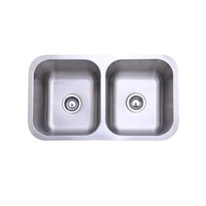 Elements of Design Gourmetier 32.31-in x 18.5-in Brushed Nickel Double Bowl Undermount Kitchen Sink
