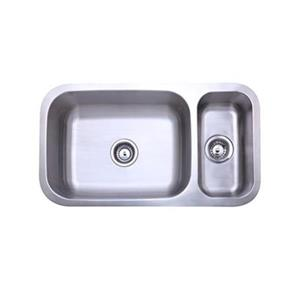 Elements of Design Centurion 32-in x 17.75-in Brushed Nickel Double Bowl Undermount Kitchen Sink